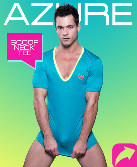 AZURE SCOOP NECK TEE