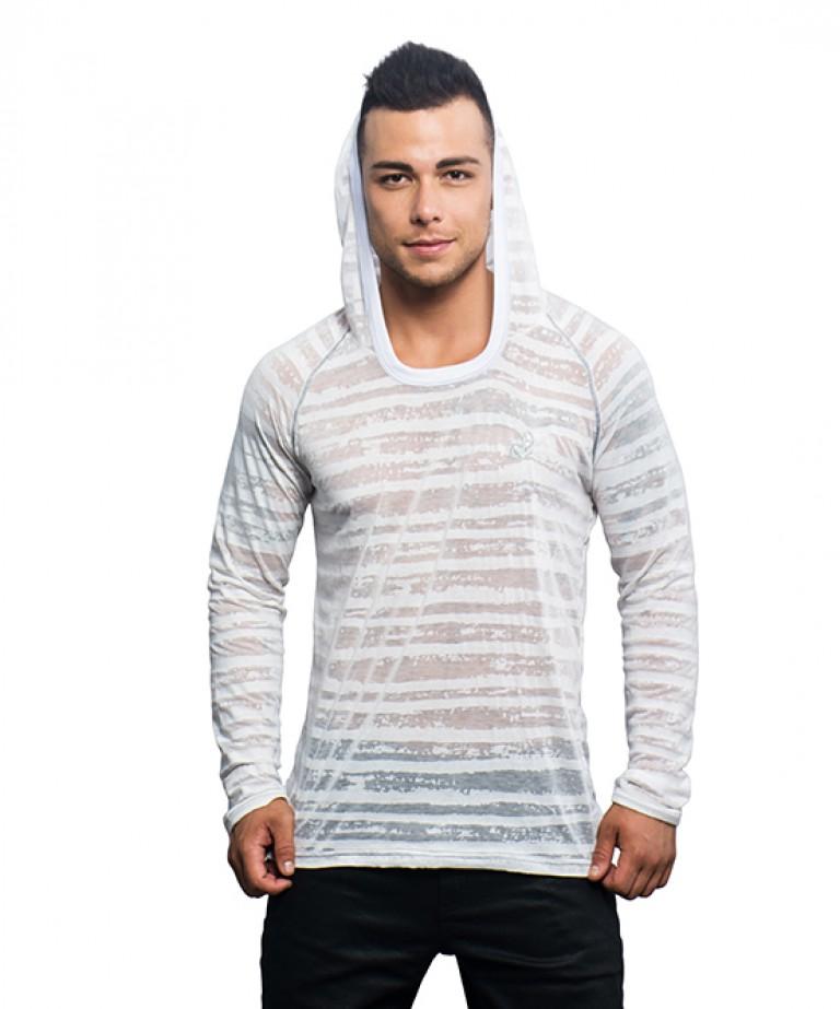 Anchor Burnout Stripe Pullover Hoodie (w/ Anchor Embroidery)