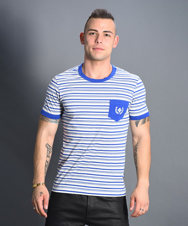 Bayside Stripe Pocket Tee w/ Laurel Cross