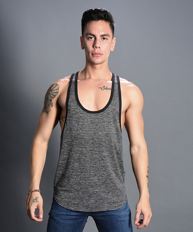 Modern Stripe Racer Back Tank Top