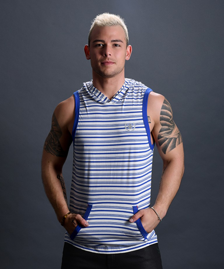 Bayside Stripe Sleeveless Hoodie w/ Laurel Cross