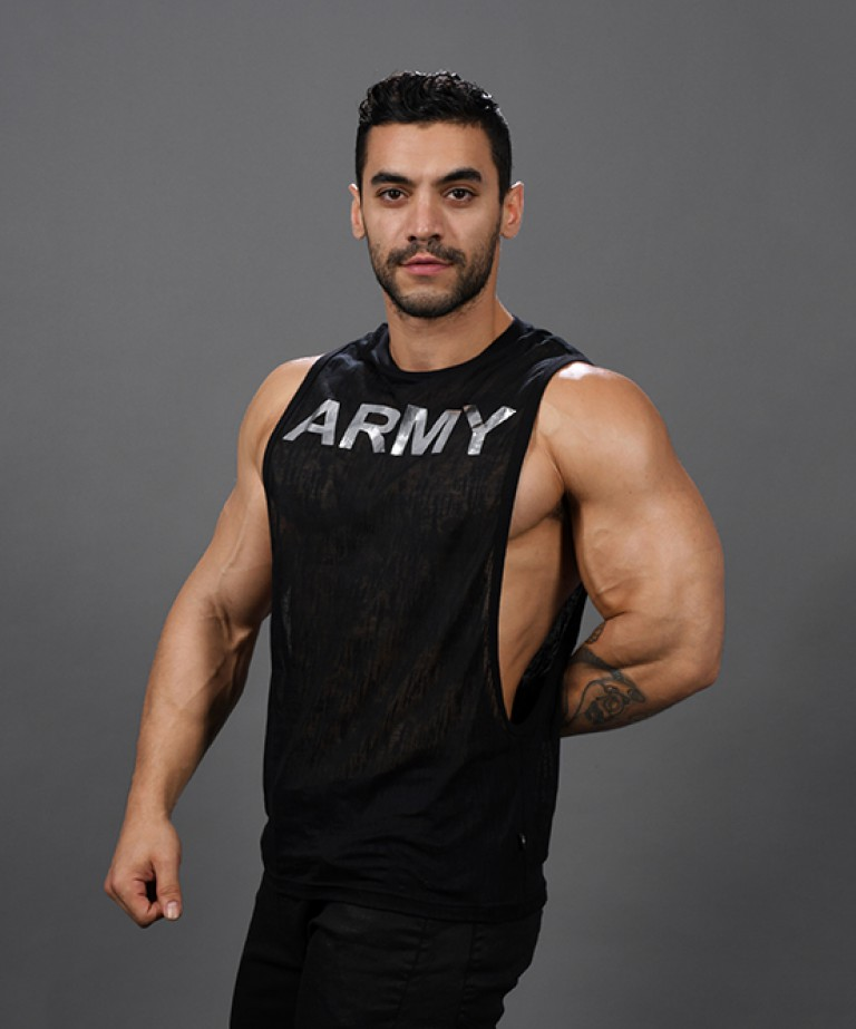 Glam Burnout Army Gym Tank