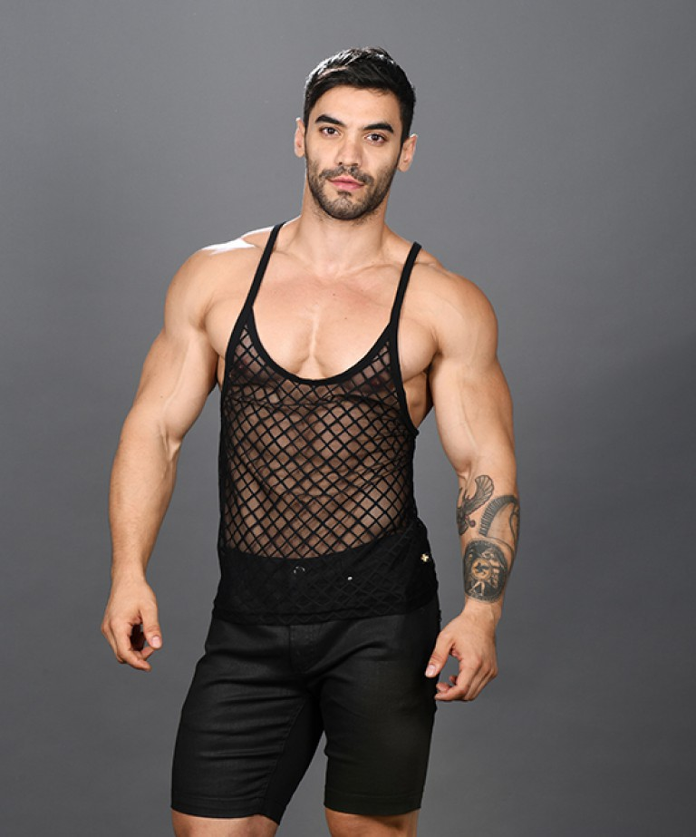 Lattice Lace Sheer String Tank Top