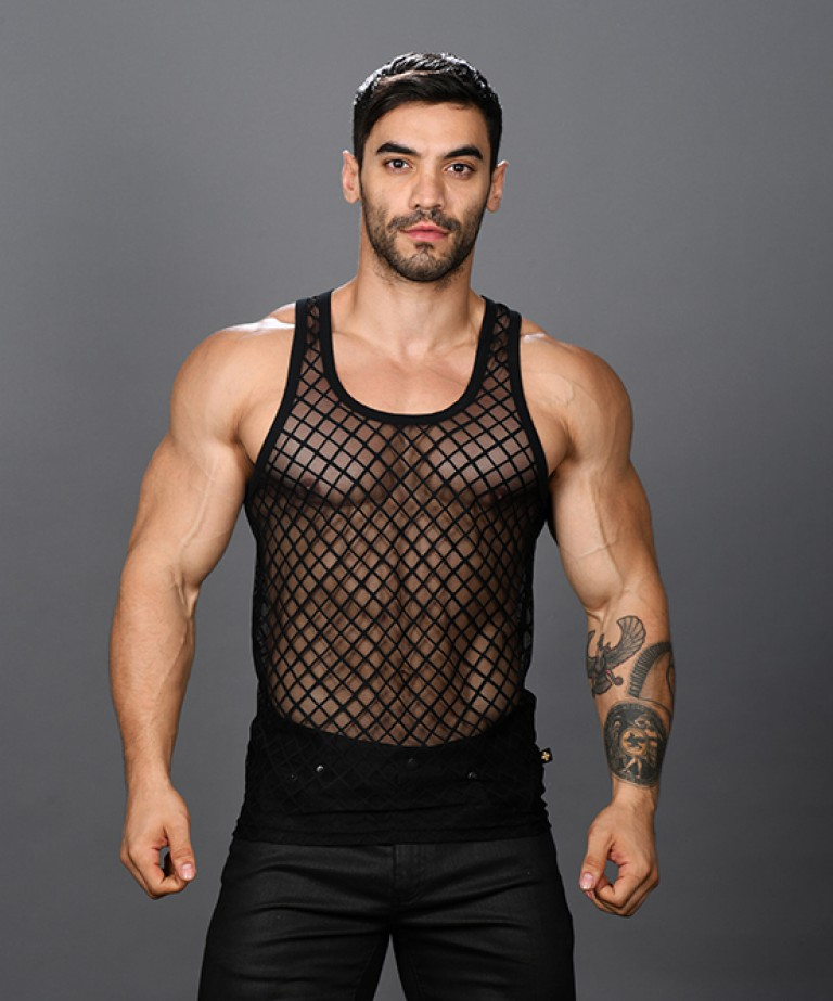 Lattice Lace Sheer Tank Top