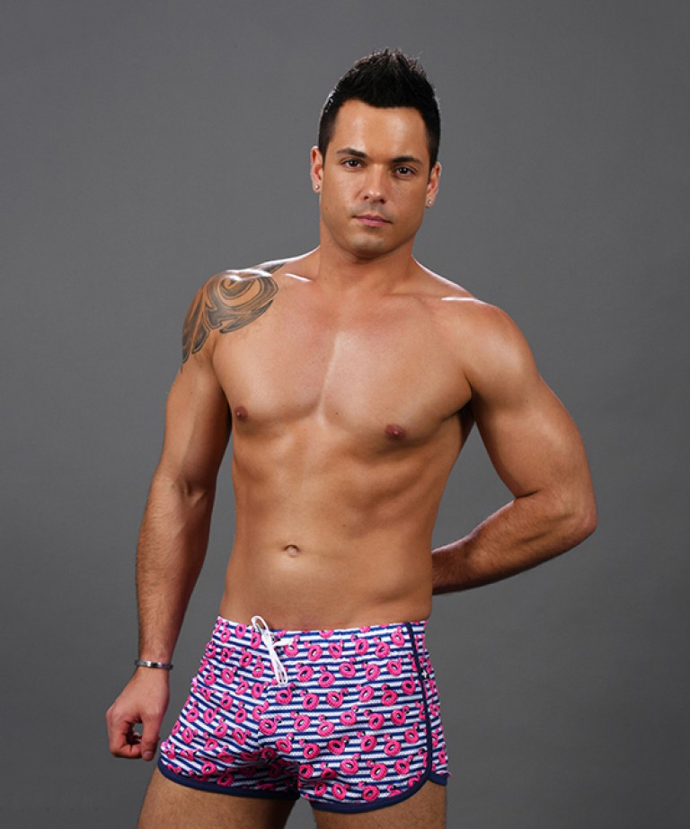 Flamingo Pool Mesh Stripe Jogger Shorts