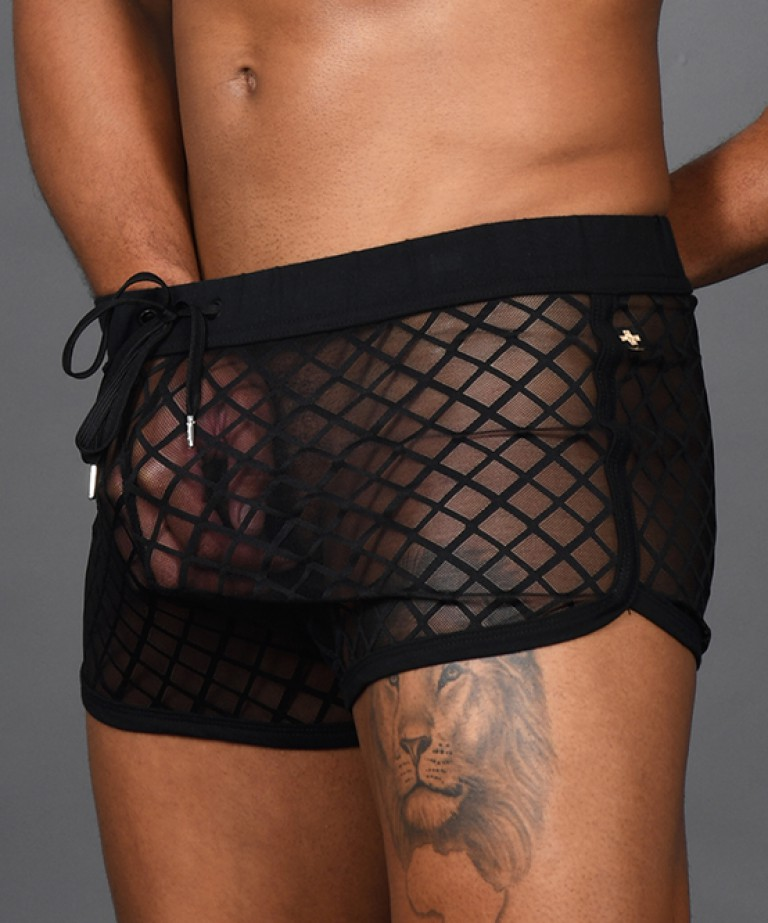 Lattice Lace Sheer Jogger Shorts