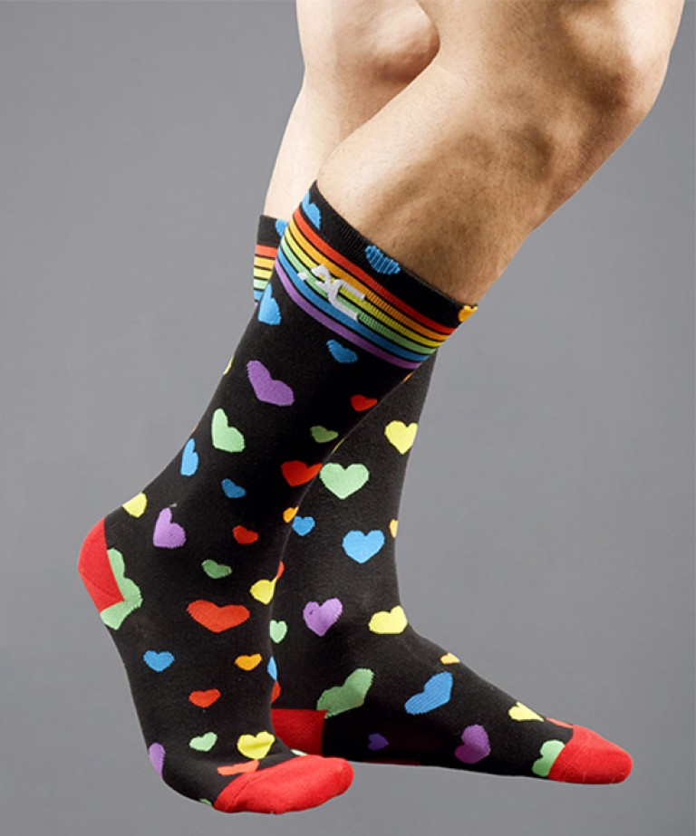 Pride Heart Rainbow Socks