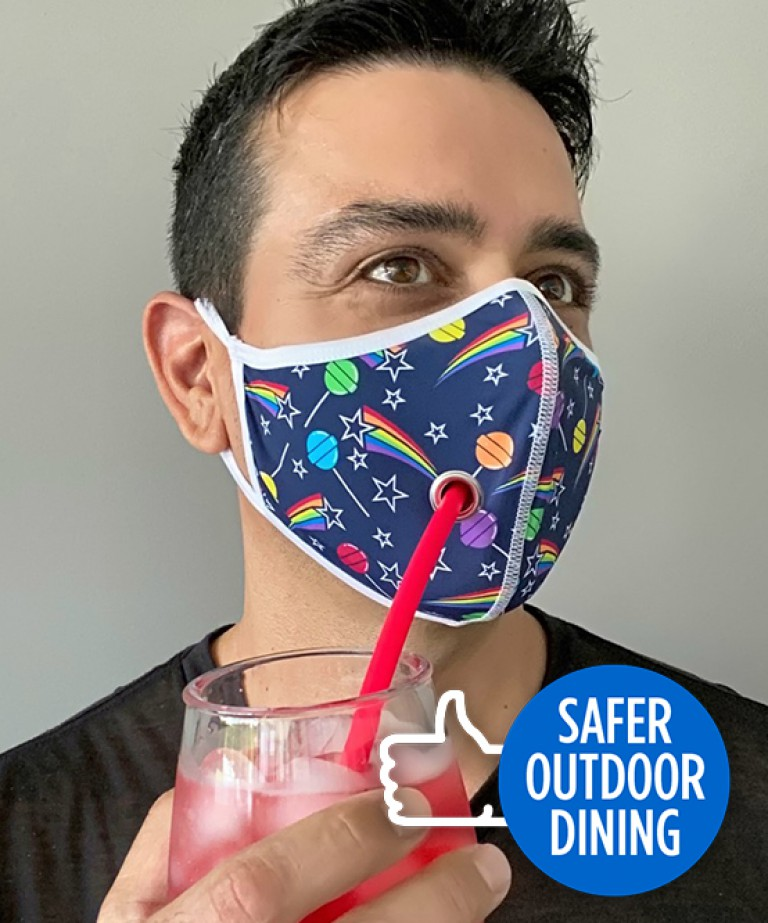 Safer Outdoor Dining Suck-It Mask