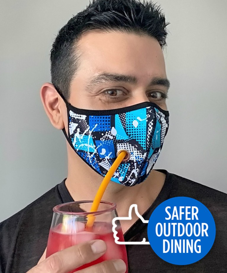 Safer Outdoor Dining Shockwave Mask