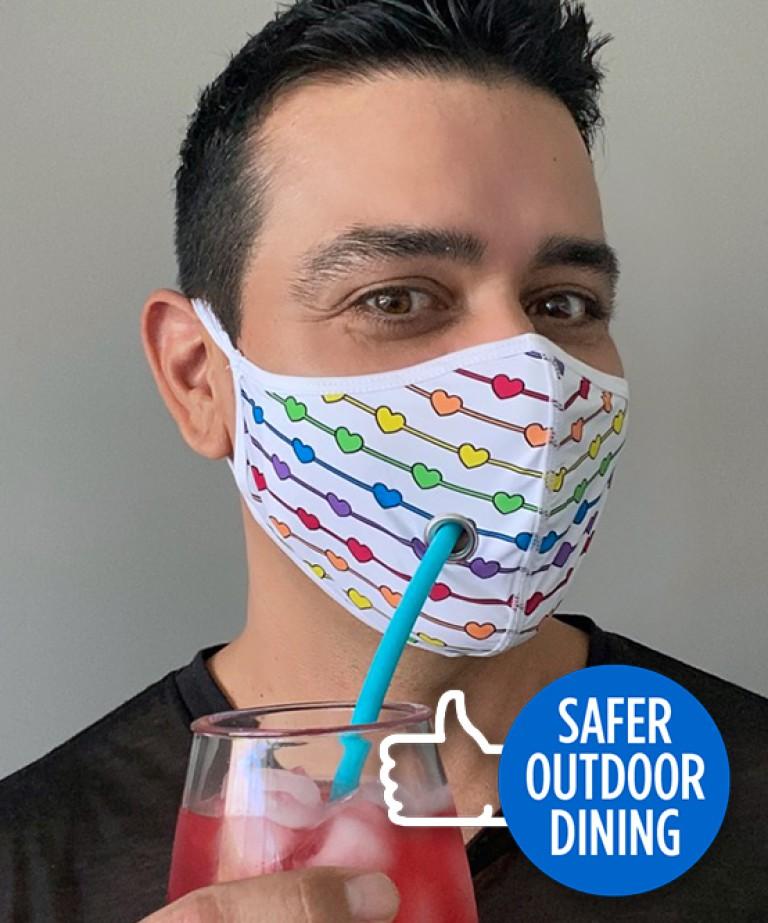 Safer Outdoor Dining Pride Love Mask
