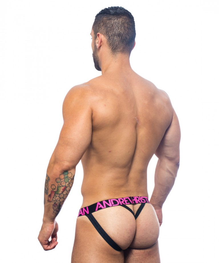 Sizzle Stripe Y-Back Jock Thong w/ Almost Naked