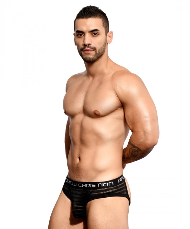 Seductive Net Stripe Frame Jock w/ Almost Naked