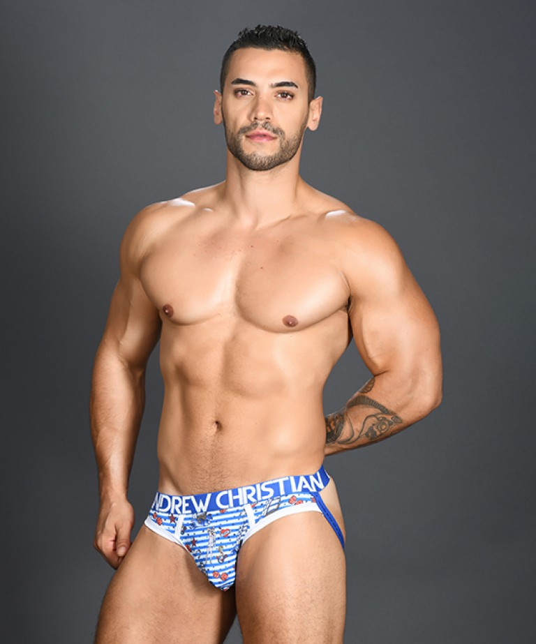 Sexy Sailor Stripe Brief Jock w/ Almost Naked