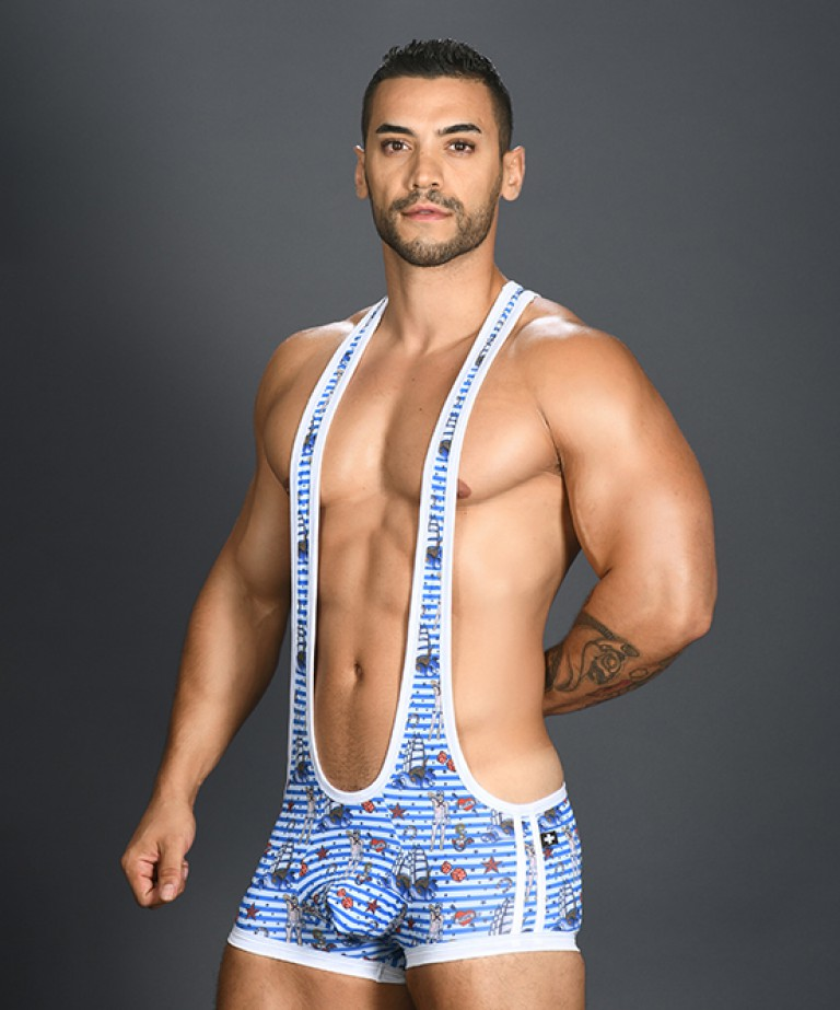 Sexy Sailor Stripe Singlet w/ Almost Naked