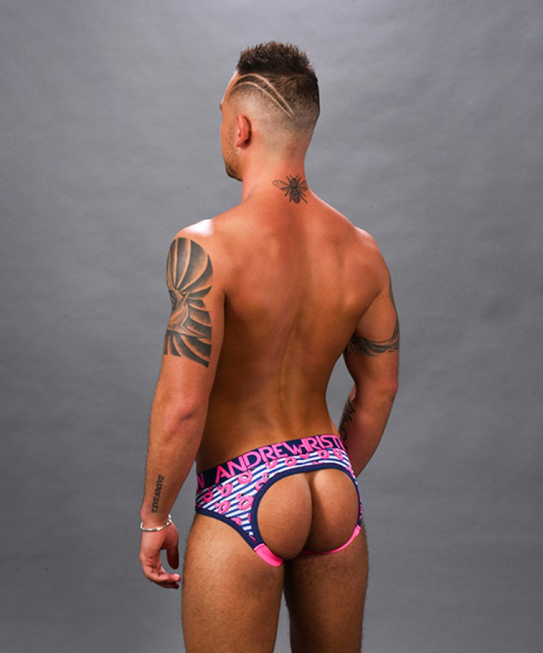 Flamingo Pool Mesh Stripe Locker Room Jock w/ Almost Naked
