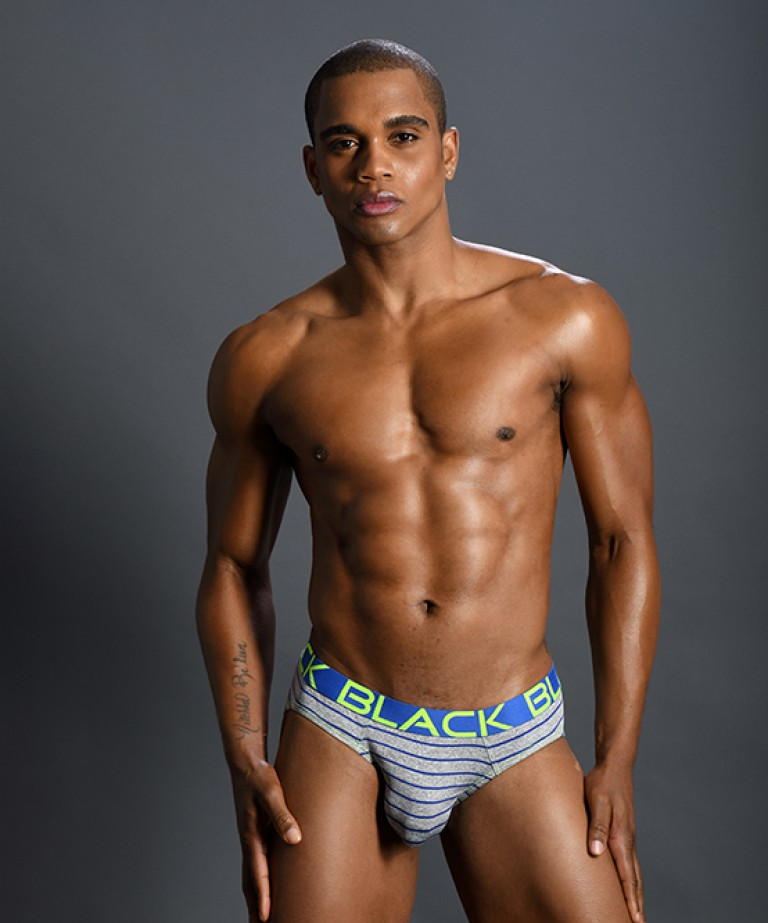 Black Collection Stripe Brief