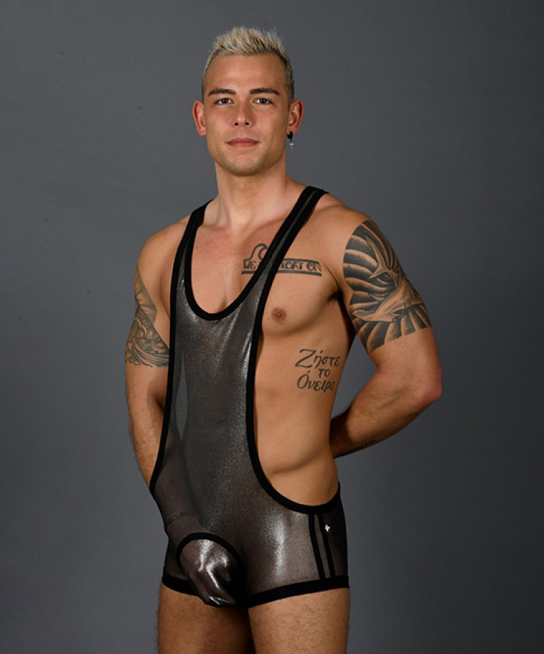 Blow Me Fuck Me Metallic Mesh Singlet w/ Almost Naked