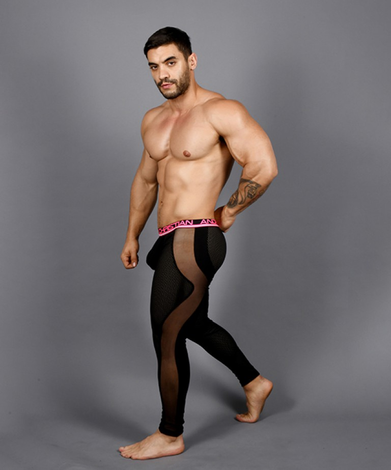 Show-It Sports Mesh Legging w/ Sheer Panels