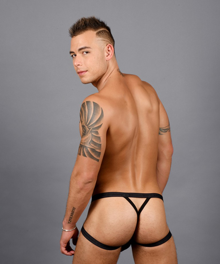 Disco Rainbow Shimmer Diamond Y-Back Jock Thong w/ Almost Naked