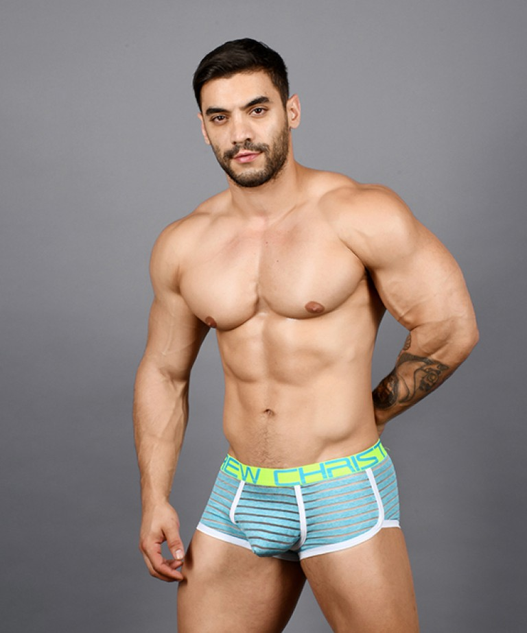 Aqua Sheer Stripe Boxer w/ Almost Naked