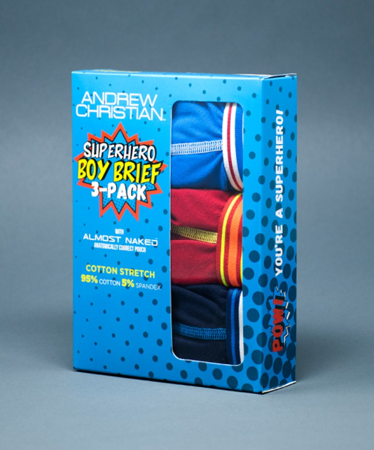 Boy Brief Superhero 3-Pack w/ Almost Naked