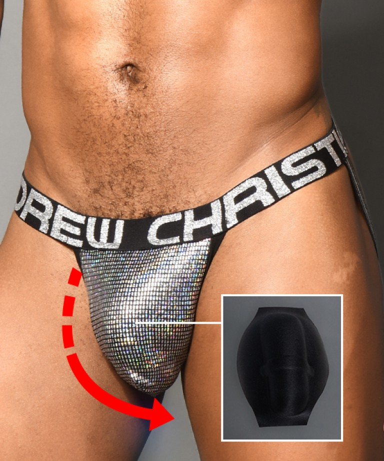 Shock Jock Disco Glitter Jock w/ Male Feature Cup Pad