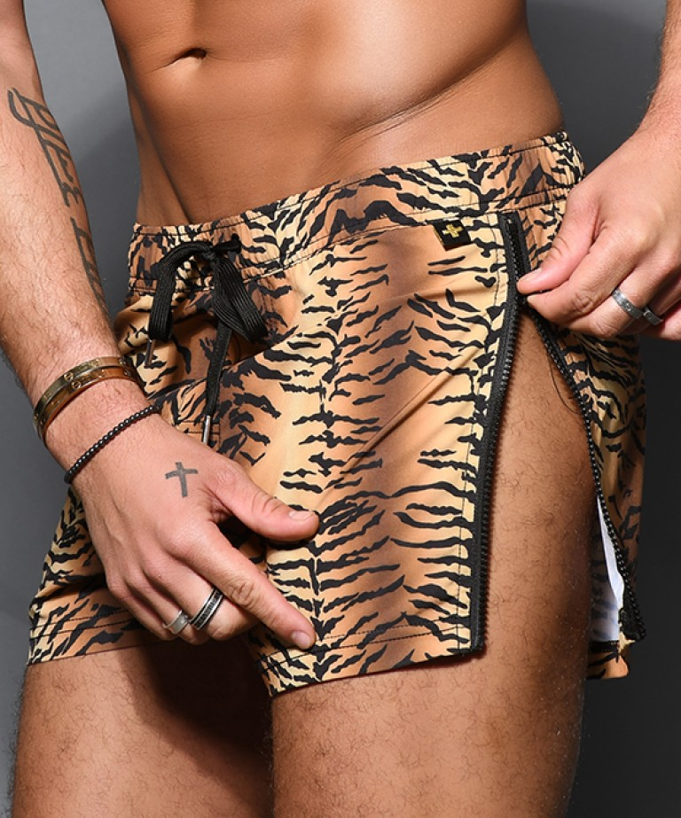 Tiger Zipper Swim Shorts