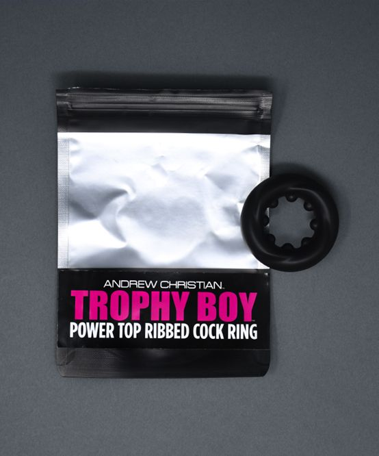 Power Top Ribbed Cock Ring, Black, One Size