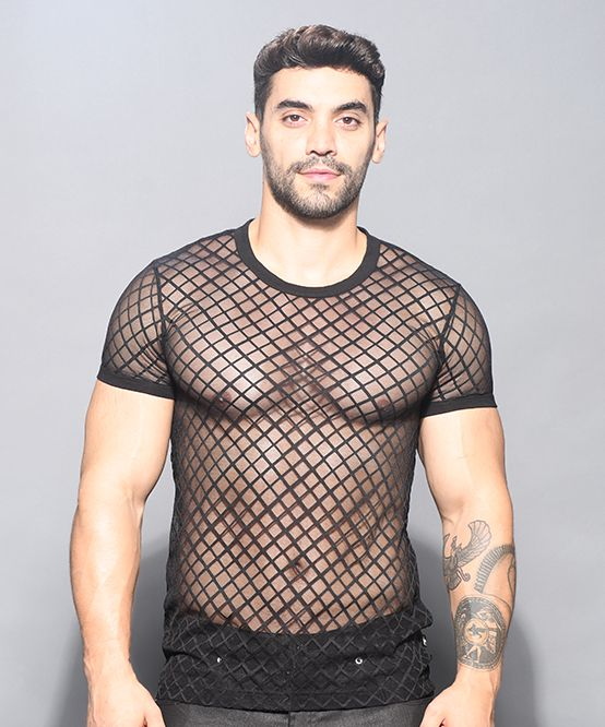 Lattice Lace Crew Neck Tee