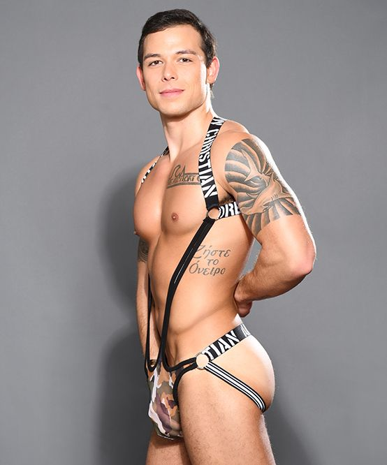 Sheer Camouflage Ring Harness Singlet w/ Almost Naked