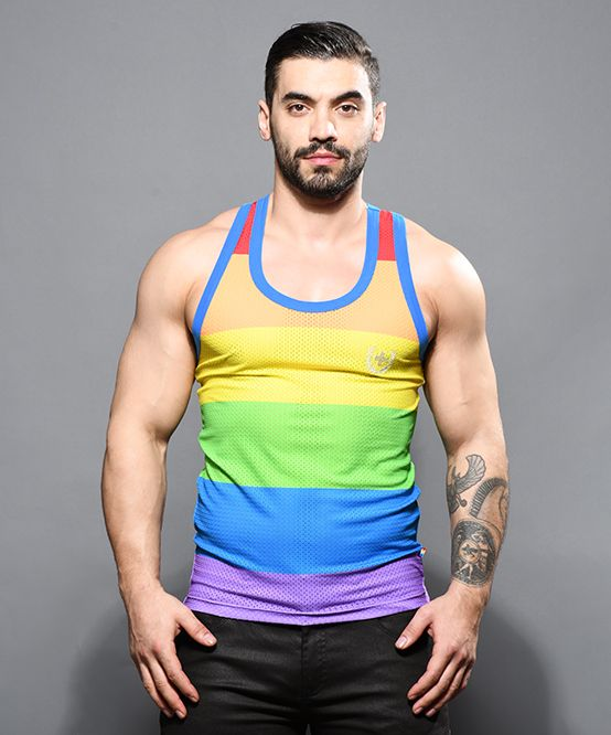Pride Stripe Mesh Tank Top